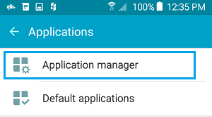 Applications Manager Option On Android Phone