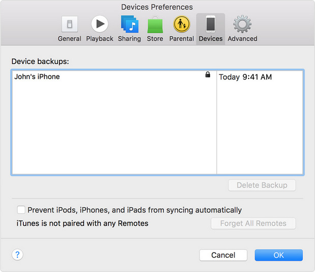 restore from itunes backup