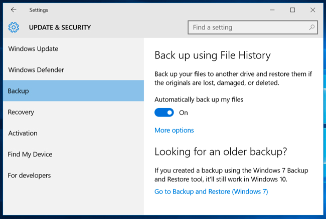 backup system with file history - step 2