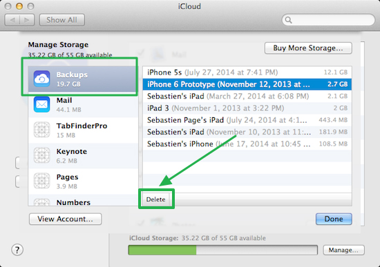 delete iPhone backup from iCloud on Mac
