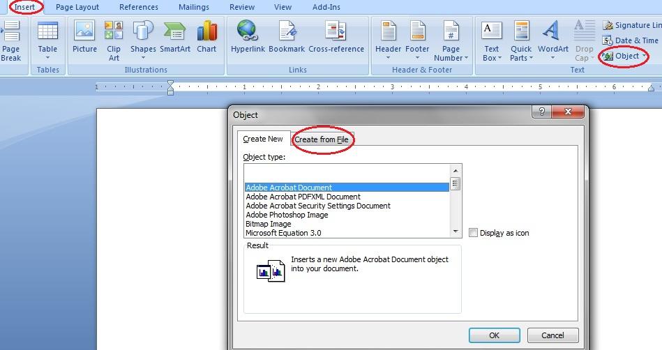 insert pdf to word on windows