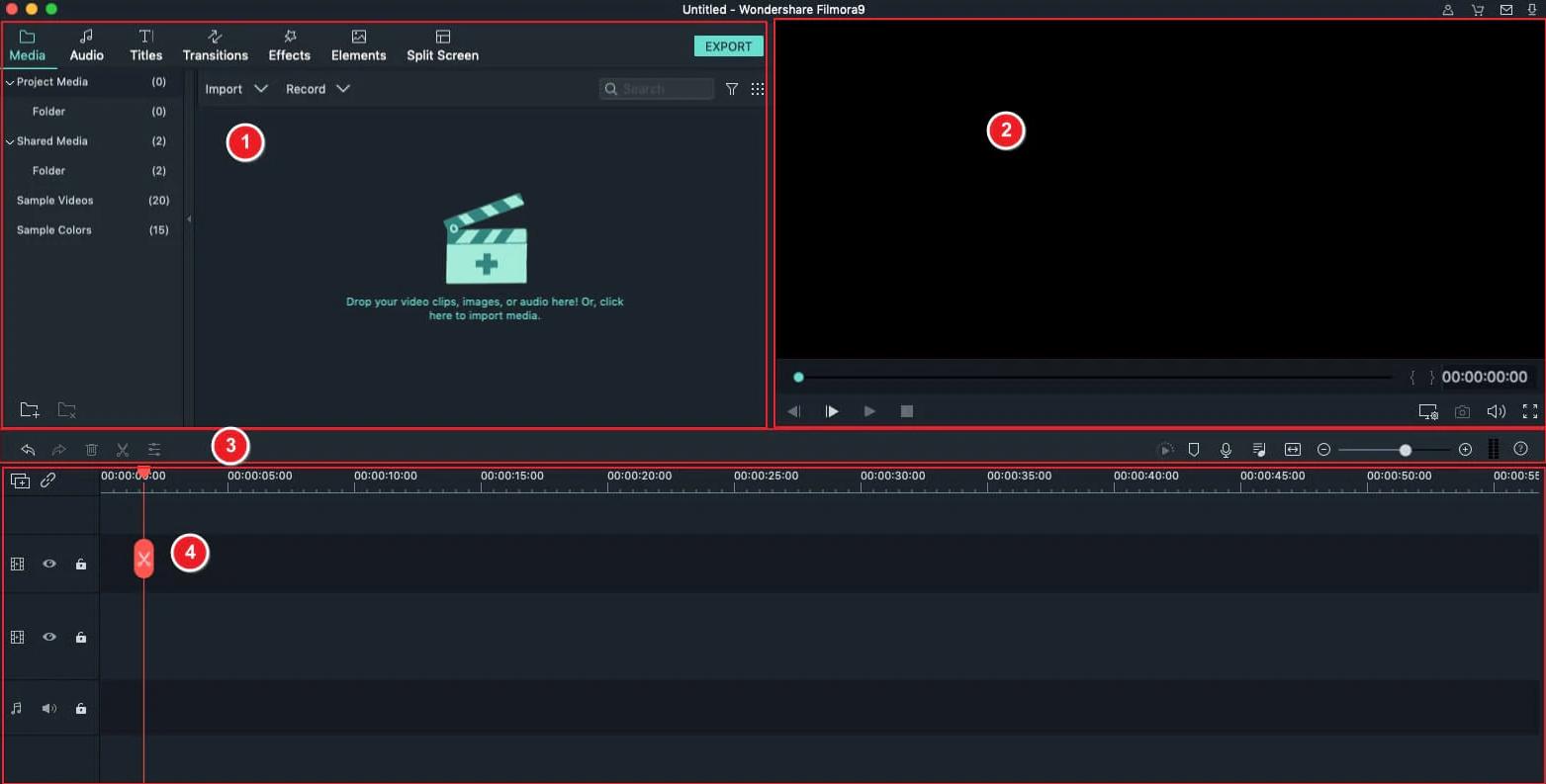 interfaccia filmora video editor per mac