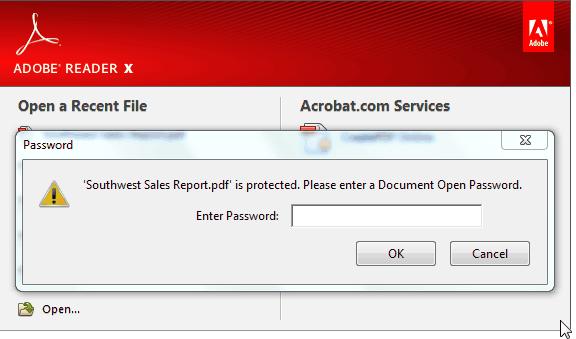 Come rimuovere finestra di inserimento password di PDF protetto?