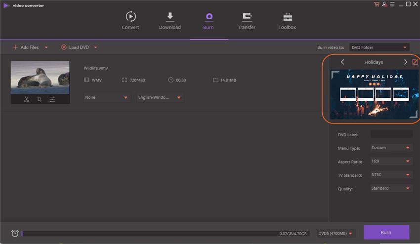 convert mkv to windows dvd maker - choose templates