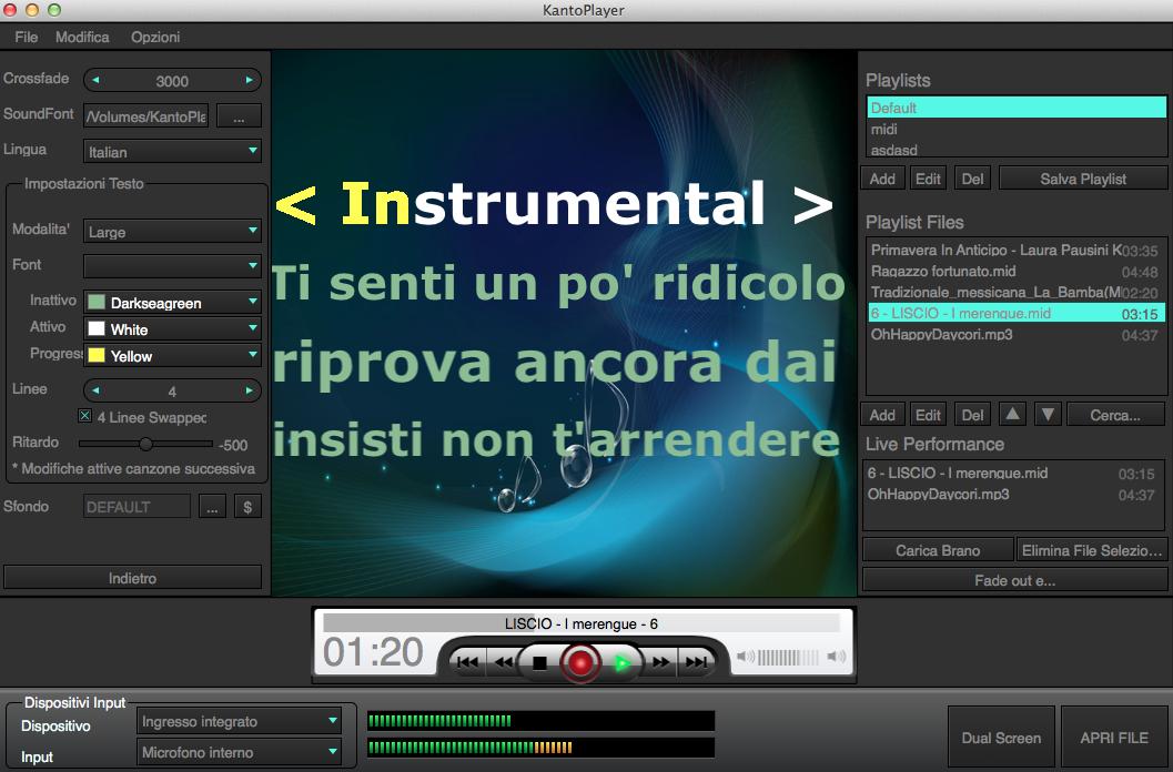 Player per leggere basi mp3 con cori e testo karaoke for Programma per creare cucine