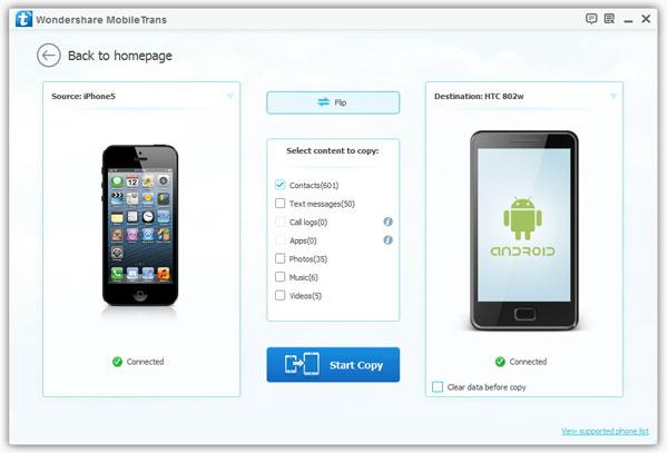 copiare rubrica da iphone a lg