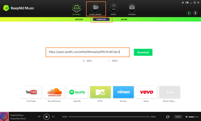 copy the link of spotify-download or convert spotify to mp3