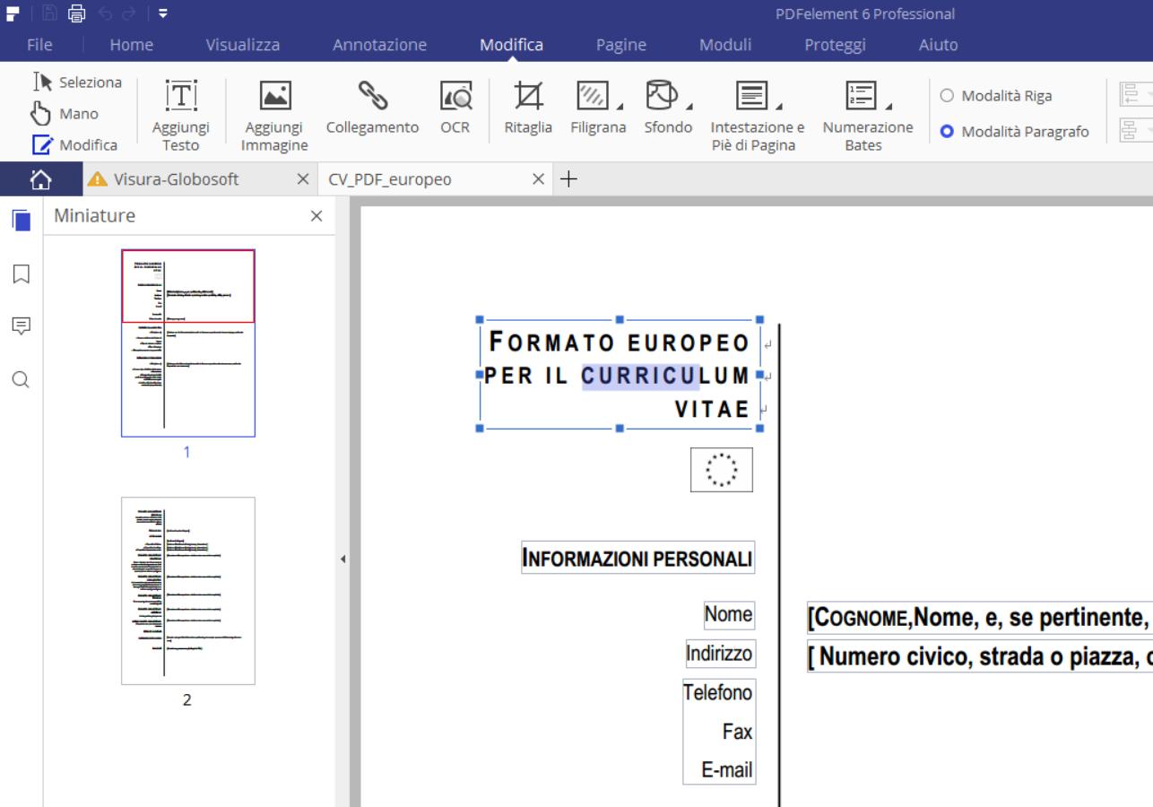 Curriculum Vitae In Pdf Pronto Da Compilare Softstore Sito Ufficiale