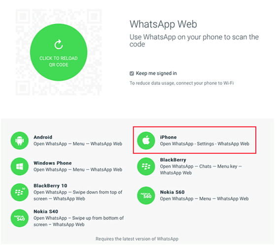 come usare whatsapp web con iphone