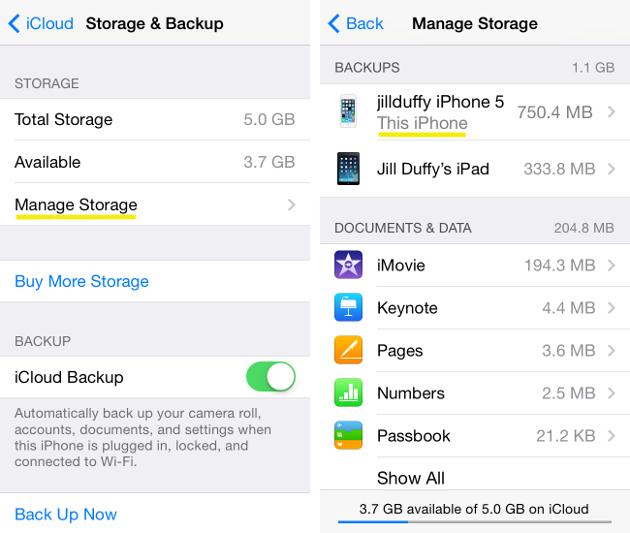 Transfer Music from iPhone to iCloud - turn on or off the data you want backed up