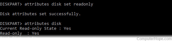 Using Windows diskpart to set the readonly attribute