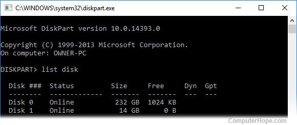 Using Windows diskpart to list disks