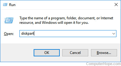 Running diskpart from the Windows run box