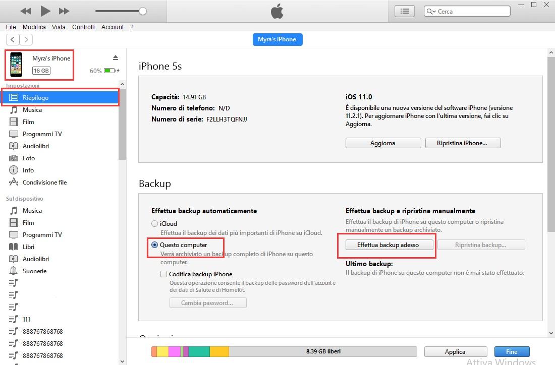 trasferire dati con iTunes