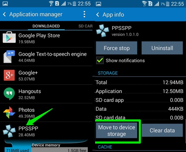 move to device storage