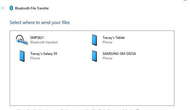 Transferring Files Bluetooth Destination