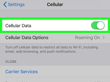 disable cellular data