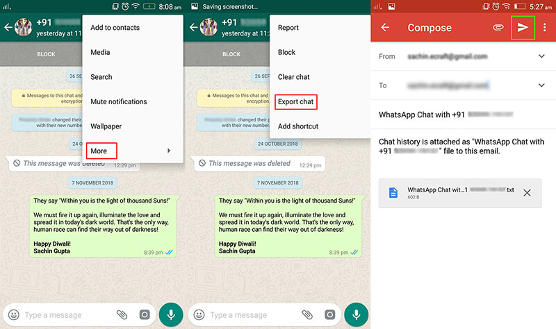 email whatsapp conversation to save for android
