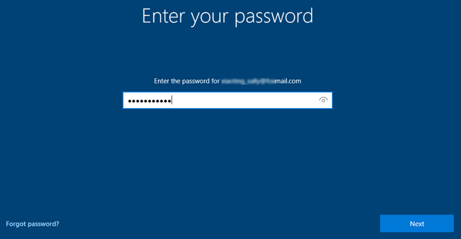Enter your Microsoft password