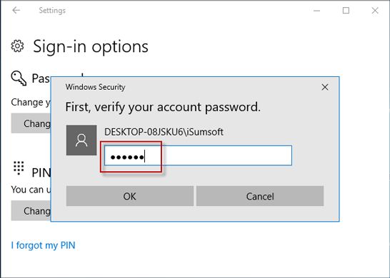 Verify your account password