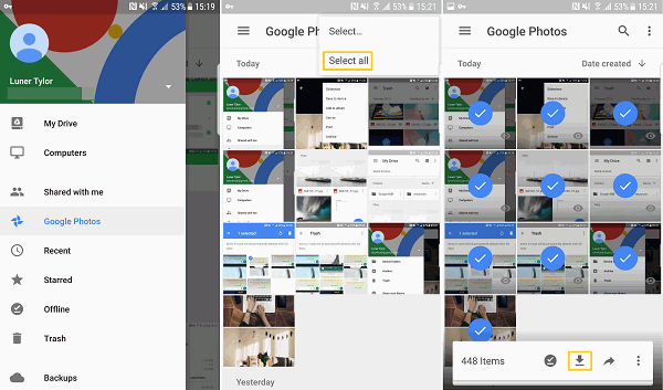 Download All Google Photos to Device