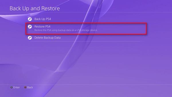 Restore PS4