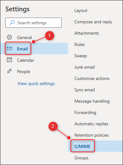"Outlook's Settings menu, with the ""S/MIME"" option highlighted."