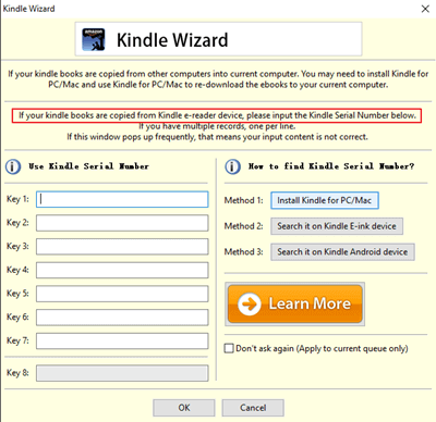 input kindle serial number to remove drm1