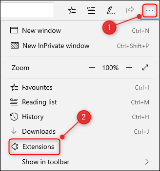 "The 3 dots and browser menu in Edge, with the ""Extensions"" option highlighted."