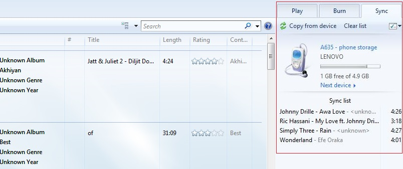 add music from S9/S20 to windows media player