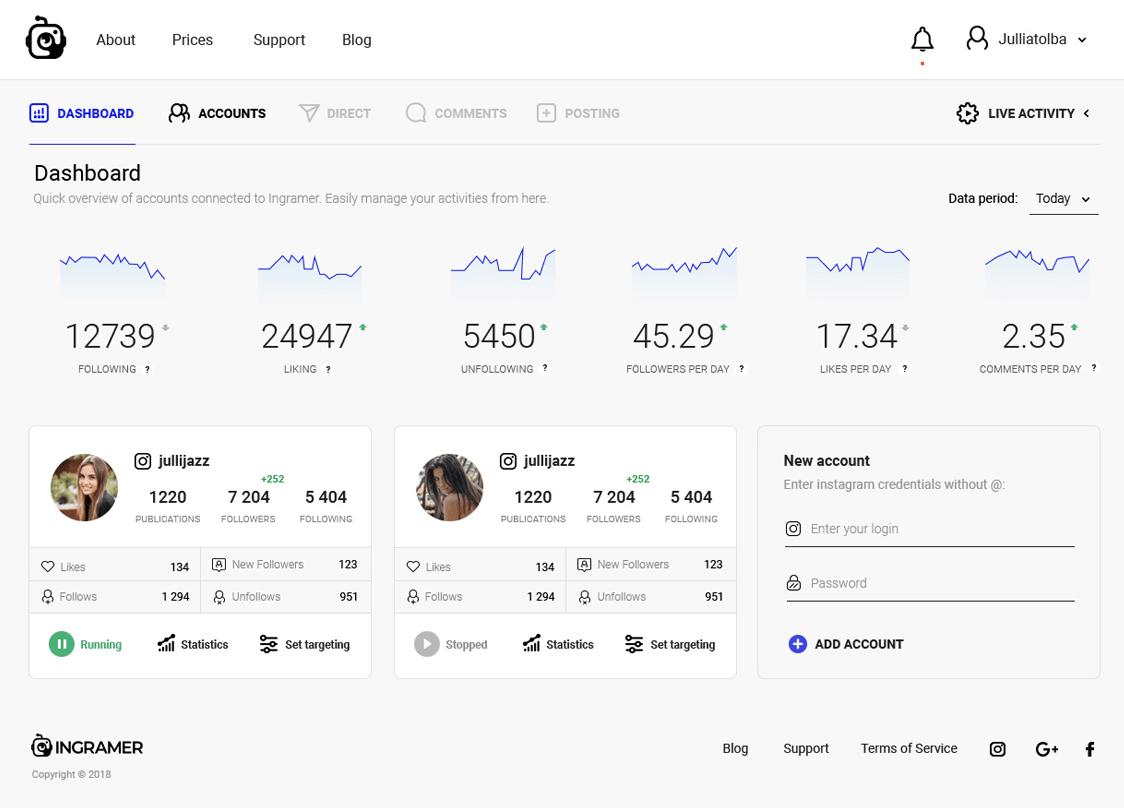 Ingramer — x2 More Effective Instagram Bot