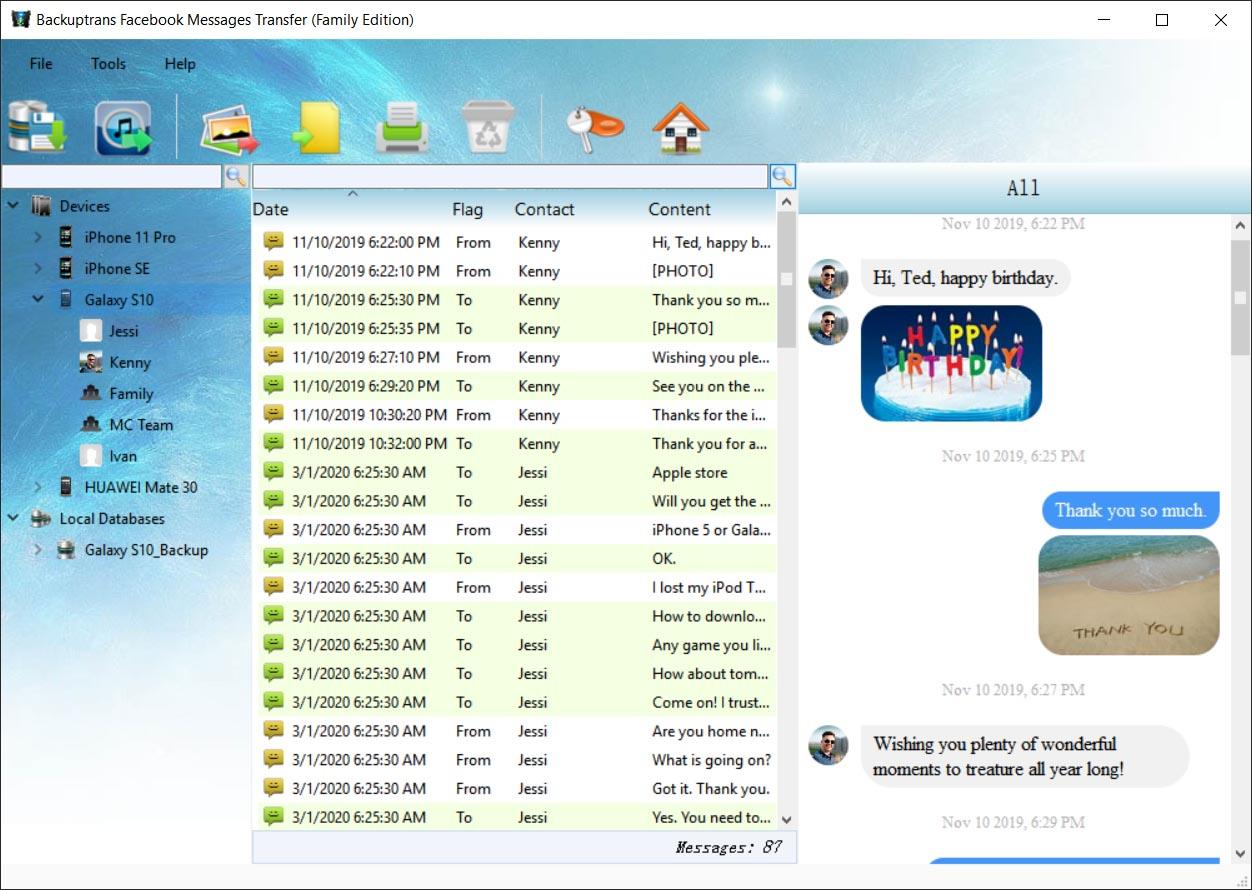 Facebook Messages Transfer Screenshot