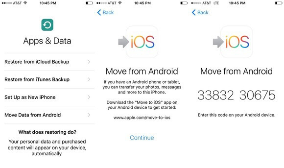 transfer photos from samsung to iphone using move to ios