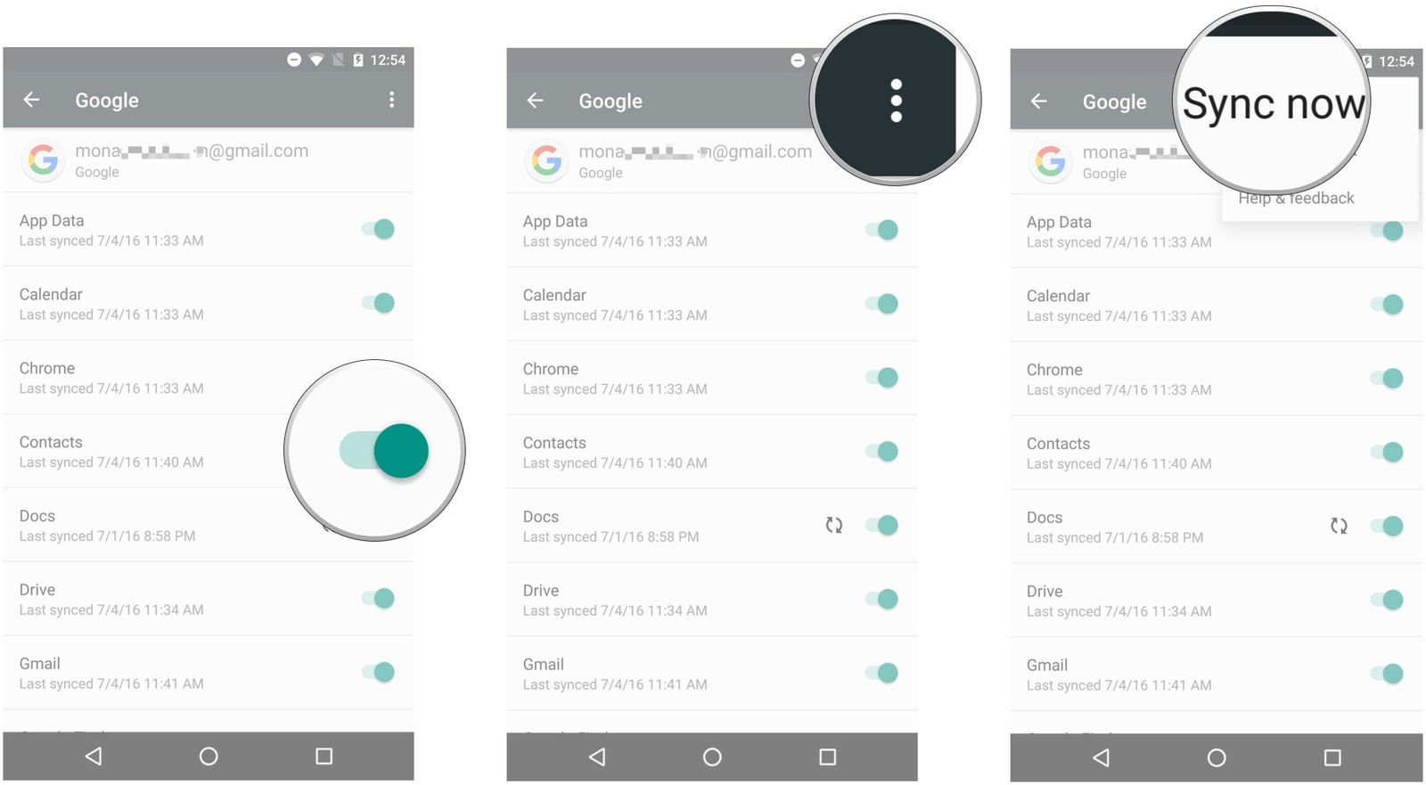 export contacts from android-tap the 'Sync Now' button