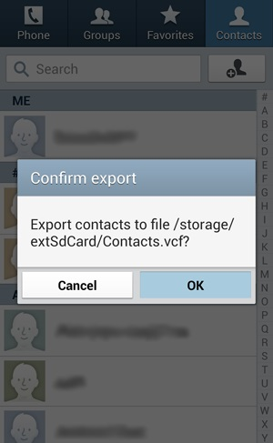 export contacts from android-tap on OK