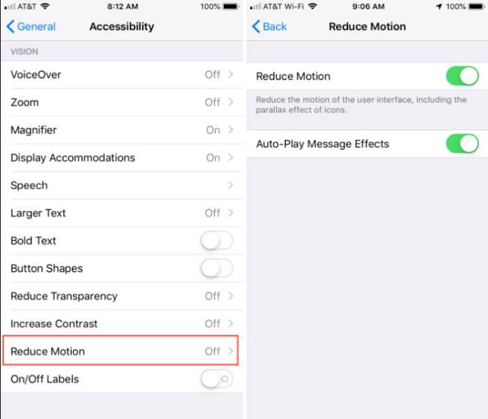 reduce motion in iphone