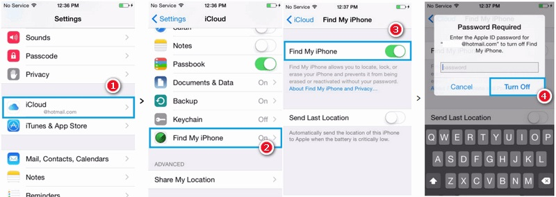 turn off find my iphone before undo ios update