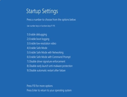Troubleshooting Startup Options in Windows 10